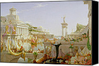 Greece Painting Canvas Prints - The Course of Empire - The Consummation of the Empire Canvas Print by Thomas Cole