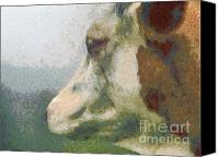 Dewy Painting Canvas Prints - The cow portrait Canvas Print by Odon Czintos