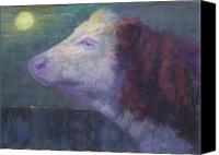 Cattle Pastels Canvas Prints - The Cow Who Sang to the Moon Canvas Print by Susan Williamson