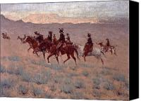 Remington Canvas Prints - The Cowpunchers Canvas Print by Frederic Remington