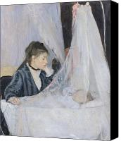 Crib Painting Canvas Prints - The Cradle Canvas Print by Berthe Morisot