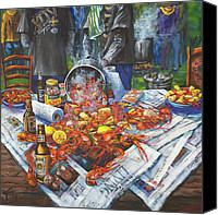 Food Tapestries Textiles Canvas Prints - The Crawfish Boil Canvas Print by Dianne Parks