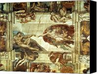 Fresco Canvas Prints - The Creation of Adam Canvas Print by Michelangelo