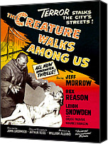 Horror Fantasy Movies Canvas Prints - The Creature Walks Among Us, 1956 Canvas Print by Everett