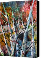 Birch Mixed Media Canvas Prints - The Cries of Autumn Canvas Print by Mindy Newman