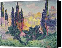 Hill Town Canvas Prints - The Cypresses at Cagnes Canvas Print by Henri-Edmond Cross