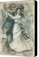Kiss Pastels Canvas Prints - The Dance Canvas Print by Pierre Auguste Renoir