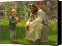 Children Canvas Prints - The Dandelion Canvas Print by Greg Olsen