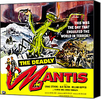 Horror Fantasy Movies Canvas Prints - The Deadly Mantis, 6-sheet Poster Art Canvas Print by Everett
