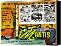 1950s Poster Art Canvas Prints - The Deadly Mantis, Bottom Right Canvas Print by Everett