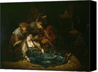 Brutus Canvas Prints - The Death of Lucretia - mid 1640s  Canvas Print by Harmensz van Rijn Rembrandt