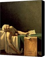 Assassination Canvas Prints - The Death of Marat Canvas Print by Jacques Louis David
