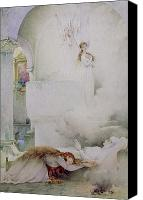 Watercolor On Paper Canvas Prints - The Death of the Virgin Canvas Print by Guillaume Dubufe