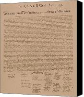 America Tapestries Textiles Canvas Prints - The Declaration of Independence Canvas Print by War Is Hell Store