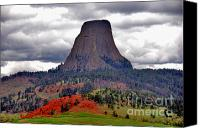 National Monument Canvas Prints - The Devils Tower WY Canvas Print by Susanne Van Hulst