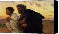 Sunrise Canvas Prints - The Disciples Peter and John Running to the Sepulchre on the Morning of the Resurrection Canvas Print by Eugene Burnand