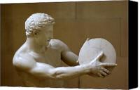 Greek Sculpture Canvas Prints - The Discus Thrower Canvas Print by Iain MacVinish