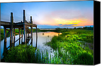 Wood Bridges Canvas Prints - The Dock Canvas Print by Debra and Dave Vanderlaan