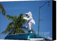 Miami Dolphins Canvas Prints - The Dolphins Mascot. Calle Ocho Parade Canvas Print by Maite Toledo