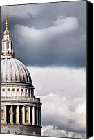 Storm Photo Canvas Prints - The Dome Of St Pauls Cathedral Against Stormy Sky Canvas Print by Sarah Franklin www.eyeshoot.co.uk