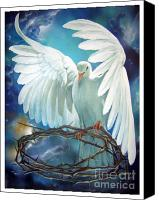 Christian Artwork Painting Canvas Prints - The Dove Canvas Print by Larry Cole