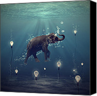 Surreal  Canvas Prints - The dreamer Canvas Print by Martine Roch