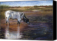 Cattle Pastels Canvas Prints - The Drink Canvas Print by Susan Jenkins