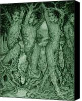 Mystical Drawings Canvas Prints - The Dryads Canvas Print by Debra A Hitchcock