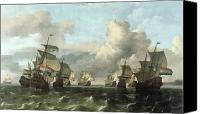 Spice Painting Canvas Prints - The Dutch Fleet of the India Company Canvas Print by Ludolf Backhuysen