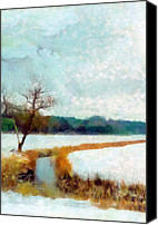 Norfolk Painting Canvas Prints - The Dyke Canvas Print by Valerie Anne Kelly