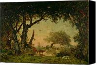 Setting Painting Canvas Prints - The Edge of the Forest at Fontainebleau Canvas Print by Theodore Rousseau