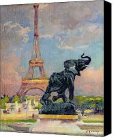 Gardens Canvas Prints - The Eiffel Tower and the Elephant by Fremiet Canvas Print by Jules Ernest Renoux