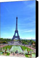 Prague Digital Art Canvas Prints - The Eiffel Tower Canvas Print by Barry R Jones Jr