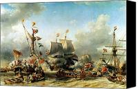 1850-51 Canvas Prints - The Embarkation of Ruyter and William de Witt in 1667 Canvas Print by Louis Eugene Gabriel Isabey