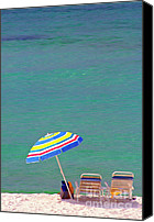 Beach Chairs Canvas Prints - The Emerald Coast with Beach Chairs Canvas Print by Thomas R Fletcher