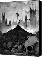 Grey Clouds Drawings Canvas Prints - The End Canvas Print by Michael Brack