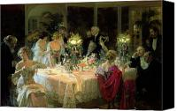 Social Canvas Prints - The End of Dinner Canvas Print by Jules Alexandre Grun