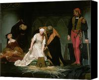 Grey Painting Canvas Prints - The Execution of Lady Jane Grey Canvas Print by Hippolyte Delaroche