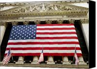 American Flag Canvas Prints - The Facade Of The New York Stock Canvas Print by Justin Guariglia