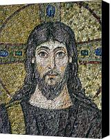 Portraits Reliefs Canvas Prints - The face of Christ Canvas Print by Byzantine School