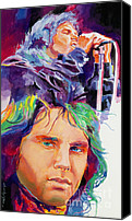 1960 Painting Canvas Prints - The Faces of Jim Morrison Canvas Print by David Lloyd Glover