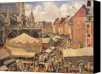 Vendor Canvas Prints - The Fair in Dieppe Canvas Print by Camille Pissarro