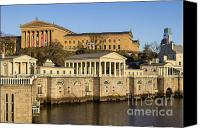 Art Museum Canvas Prints - The Fairmount Water Works and Art Museum Canvas Print by John Greim