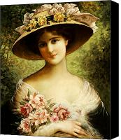 Gorgeous Women Canvas Prints - The Fancy Bonnet Canvas Print by Emile Vernon