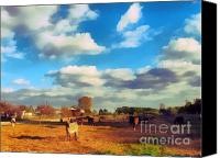 Dewy Painting Canvas Prints - The farm Canvas Print by Odon Czintos