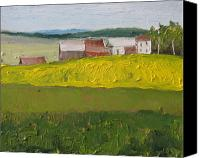 Contry Canvas Prints - The Farm on a Dandelion Field Sawyerville Quebec Canada Canvas Print by Francois Fournier