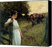 Setting Canvas Prints - The Farmers Daughter Canvas Print by Henry Herbert La Thangue