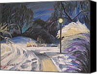 Snowy Night Painting Canvas Prints - The Fauvist Path Canvas Print by Rivkah Singh