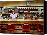 Diners Canvas Prints - The Fifties Diner Canvas Print by Doug Strickland