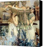 Crib Painting Canvas Prints - The Finding of Moses by Pharaohs Daughter Canvas Print by Sir Lawrence Alma-Tadema